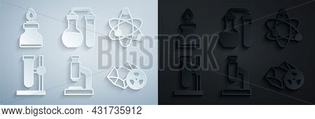 Set Microscope, Atom, Test Tube Flask On Stand, Radioactive, And Alcohol Or Spirit Burner Icon. Vect