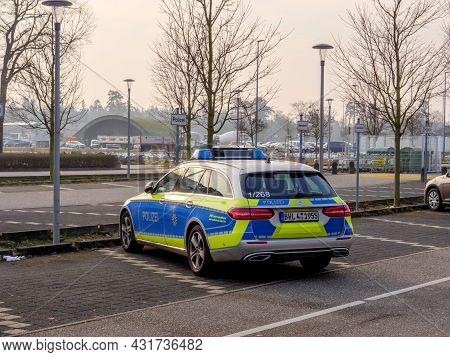 Baden-baden, Germany - Feb 8, 2018: Mercedes-benz Estate Car With Branded Polizei Police Parked In D