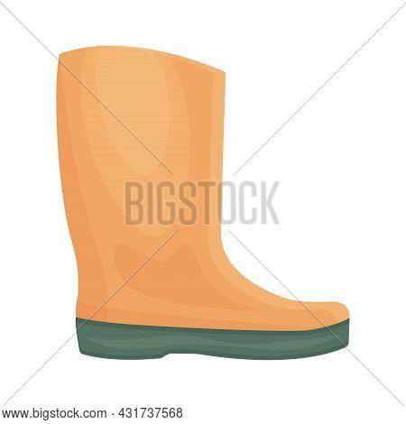 A Bright Orange Rubber Boot With A Green Sole. A Shoe For Walking In Cold Weather. Shoes For Protect