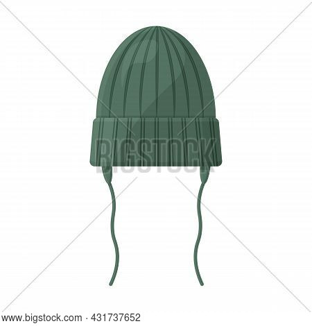 Warm Knitted Children S Hat Of Green Color With Ties. A Warm Green Hat For Walking In Cold Weather.