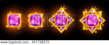 Purple Game Gem Badge Vector Icon Set, Diamond Crystal Award Rating Star, Jewelry Treasure Ui Medal.