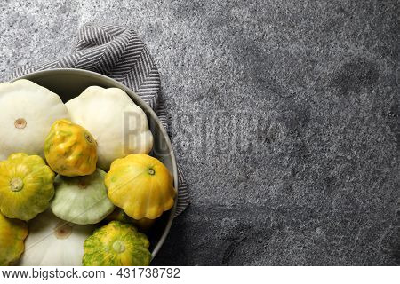 Fresh Ripe Pattypan Squashes In Bowl On Grey Table, Top View. Space For Text