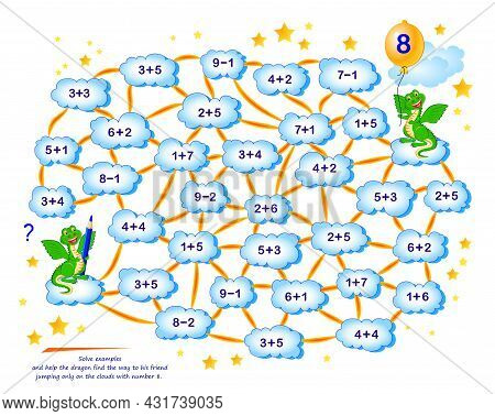 Math Education For Children. Logic Puzzle Game With Maze For Kids. Solve Examples And Help The Drago