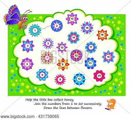 Math Education For Children. Help The Little Bee Collect Honey. Join The Numbers From 1 To 20 Succes