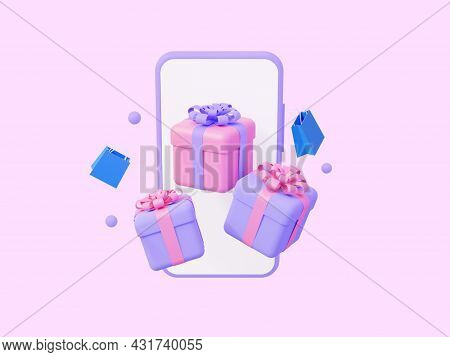Online Shopping. Phone With Gifts And Flying Packages. 3d Rendering