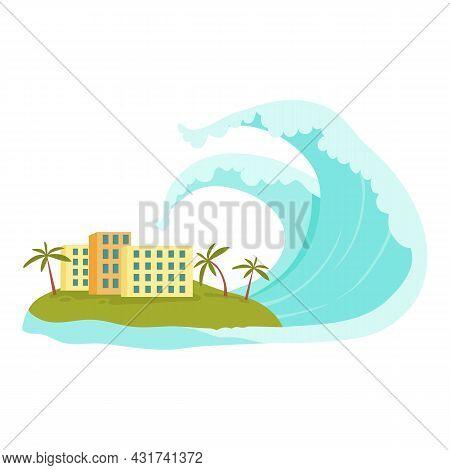 Tsunami Island Wave Icon Cartoon Vector. Sea Ocean. Surf Blue Water