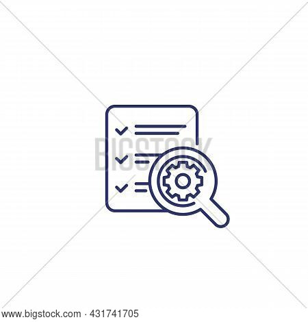 Survey Report Line Icon On White, Vector