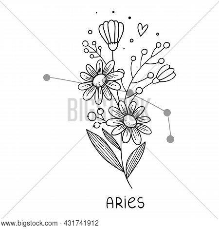 Aries Horoscope Flower Icon Outline Vector. Zodiac Sign Astrology. Tattoo Horoscope Flower