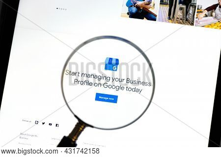 Ostersund, Sweden - Jan 21, 2021 Closeup of Google My Business website under a magnifying glass. Google My Business is a free and easy-to-use tool for businesses, brands, artists, and organization.