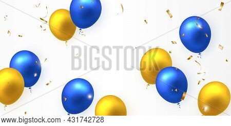 Elegant Yellow Golden Blue Ballon And Party Popper Ribbon Happy Birthday Celebration Card Banner Tem