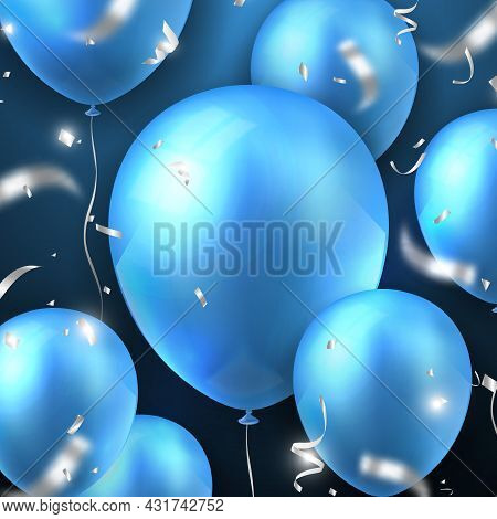 Elegant 3d Realistic Golden Blue Ballon And Party Popper Silver Ribbon Happy Birthday Celebration Ca