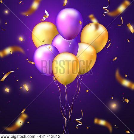 Elegant Golden Yellow Purple Ballon And Party Popper Ribbon Happy Birthday Celebration Card Banner T