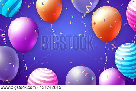 Elegant Vivid Vibrant Colorful Ballon And Party Popper Ribbon Happy Birthday Celebration Card Banner