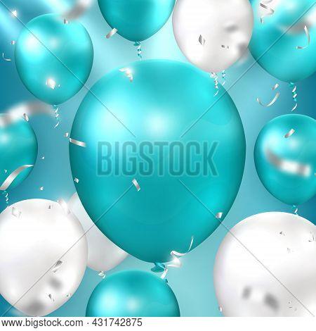 Elegant Golden Peacock Blue Silver White Ballon And Party Popper Ribbon Happy Birthday Celebration C