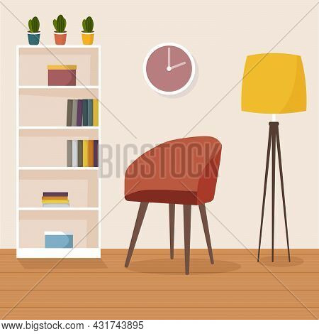 Modern Living Room Interior. Cozy Red Armchair, Floor Lamp, Bookcase And House Plants. Flat Style Ve
