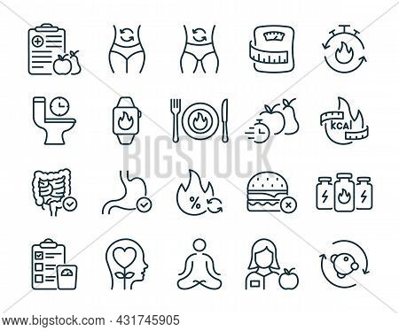 Metabolism Set Line Icon. Good Nutrition And Burn Calories Concept Linear Pictogram. Weight Control