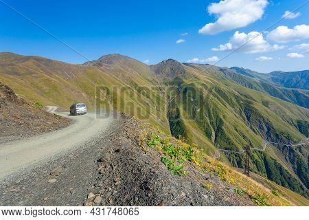 Beautiful View Of Abano Gorge In Tusheti, Dangerous Mountain Road In Georgia