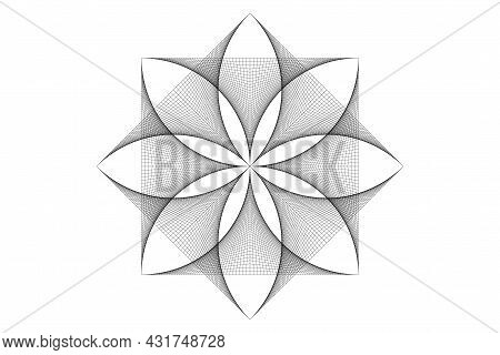 Lotus Flower Mandala, Thread Art, Symbol Sacred Geometry. Logo Icon, Geometric Mystic Mandala Of Alc