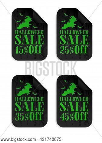 Halloween Black Sale Stickers Set With Witch. Halloween Sale 15%, 25%, 35%, 45% Off. Vector Illustra