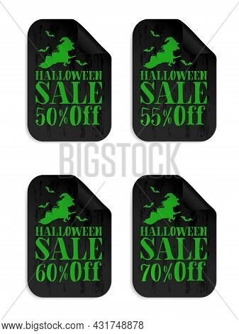 Halloween Black Sale Stickers Set With Witch. Halloween Sale 50%, 55%, 60%, 70% Off. Vector Illustra