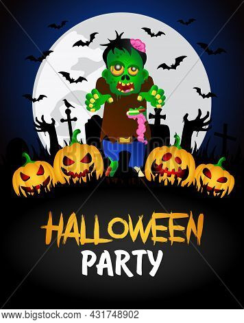 Halloween Party Banner. Poster With Zombie In The Cemetery And Funny Pumpkins. Happy Halloween Graph