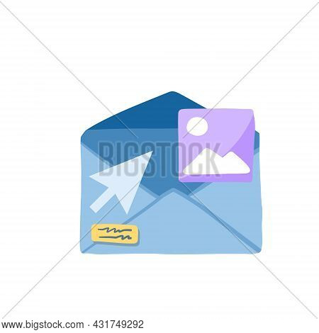 Email With Attachment. Online Document Management. Flat Cartoon Illustration Isolated On White. Atta