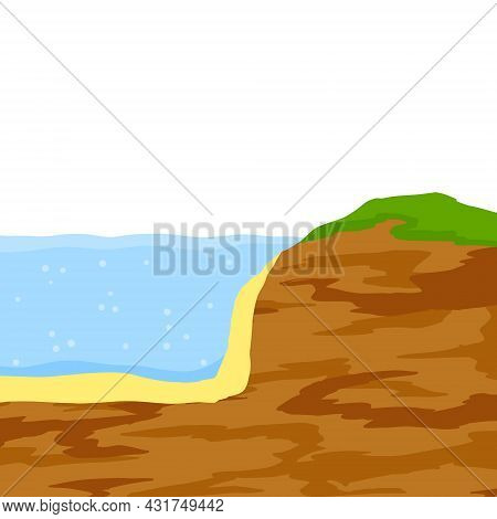 Water Shore. Land In Cross Section. Ecology And Geology. Flat Cartoon Illustration. Coast Of Pond An