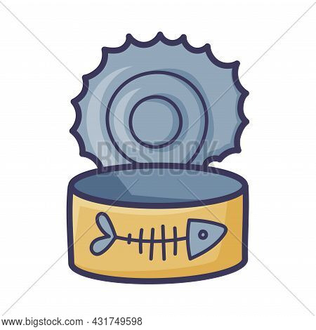Open Empty Fish Can Or Tin As Cat Food Vector Illustration