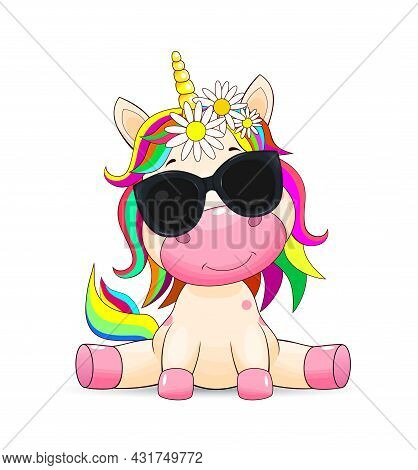 A Small Unicorn With A Multi-colored Mane And In Black Sunglasses On A White Background.