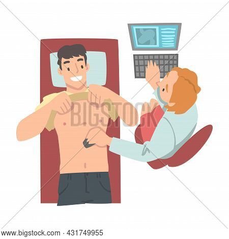 Medical Check-up With Female Doctor In White Coat Examining Patient With Ultrasonography Vector Illu