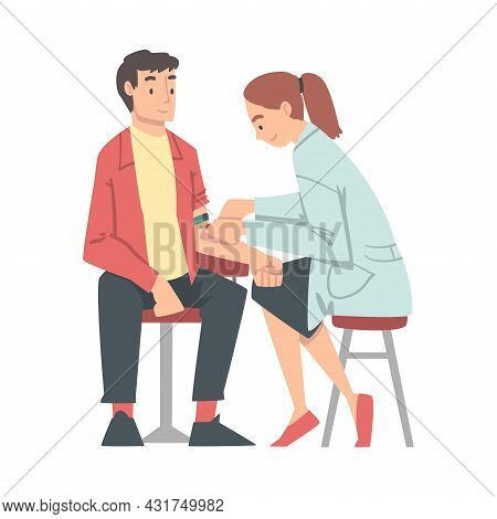 Medical Check-up With Female Doctor In White Coat Examining Patient Taking Blood Vector Illustration