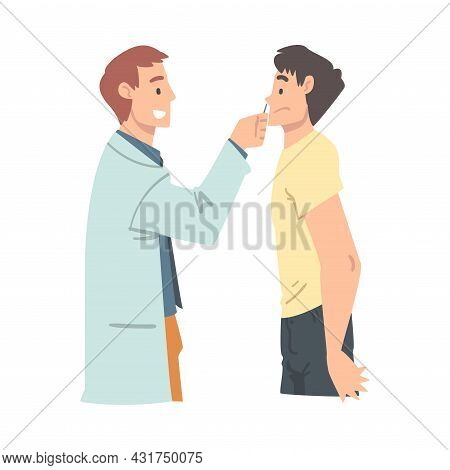 Medical Check-up With Doctor Otolaryngologist In White Coat Examining Patient Vector Illustration