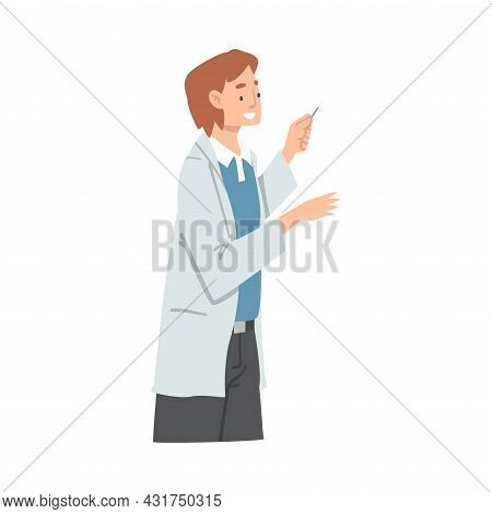 Female With Cotton Bud As Medical Doctor Or Physician Conducting Patient Checkup At Hospital Vector