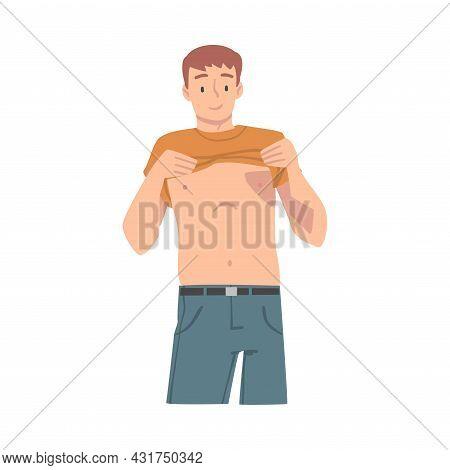 Man With Bare Torso Having Medical Checkup And Health Screening Vector Illustration