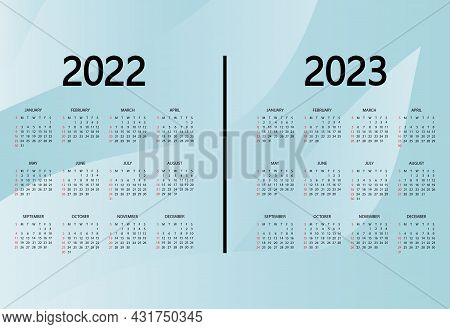 Calendar 2022, 2023 Year. The Week Starts On Sunday. Annual Organizer Template. Calendar Mockup Desi