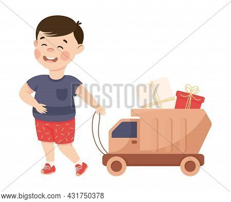Little Boy In His Childhood Pulling Toy Lorry With Gift Box Vector Illustration