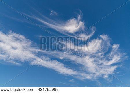 White Clouds In A Blue Sky. Nature Cloudscape .