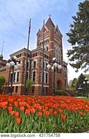 Orange City, Iowa: May 12, 2021:  The Sioux Country Courthouse Is Located In Orange City, Iowa Is Of