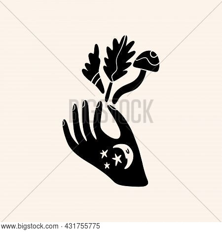Hand Art. Folk Rural Rustic Fairytale Scandinavian Style, Hygge And Lagom Design. Nordic Scandi Deco