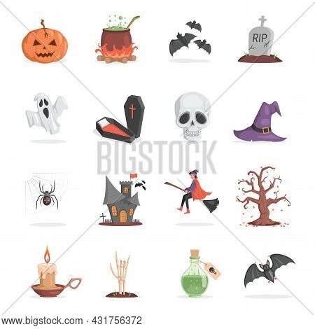 Set Of Halloween Party Items. Scary And Ugly Pumpkin, Pot With Poison, Bats, Gravestone, Ghost, Skul