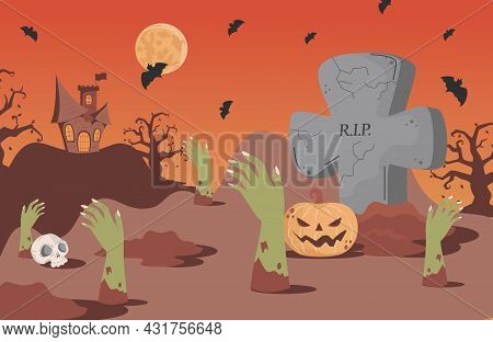 Halloween Banner Background With Gravestones, Bats, Scary Castle, And Skeleton Hand Vector Flat Cart