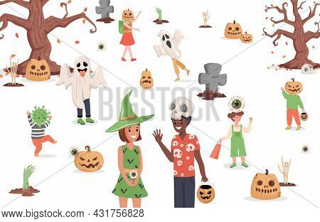 Children Wearing Monster Costumes Walking In The City Vector Flat Illustration. Trick Or Treat Hallo