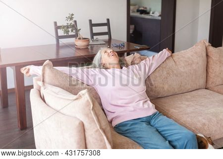 Portrait happy healthy middle aged woman sitting on comfortable couch at home. Smiling pleasant 50s elderly gray-haired mother looking at camera, posing in modern living room