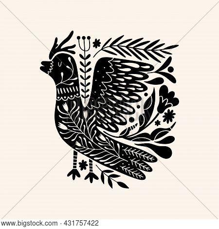 Cute Scandinavian Bird Art. Folk Rural Rustic Fairytale Style, Hygge And Lagom Design. Nordic Scandi
