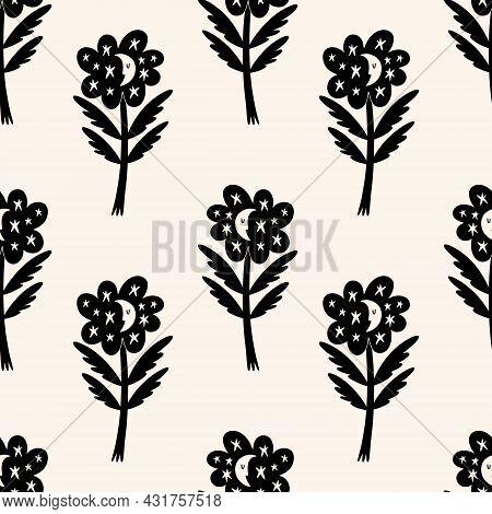 Cute Scandinavian Moon Flowers Seamless Pattern. Folk Rural Rustic Fairytale Style, Hygge And Lagom
