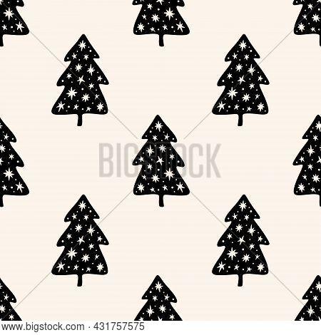 Christmas Tree Elm Simple Scandi Seamless Pattern Design. Graphic Trees Shapes, Minimal Noel Decor.