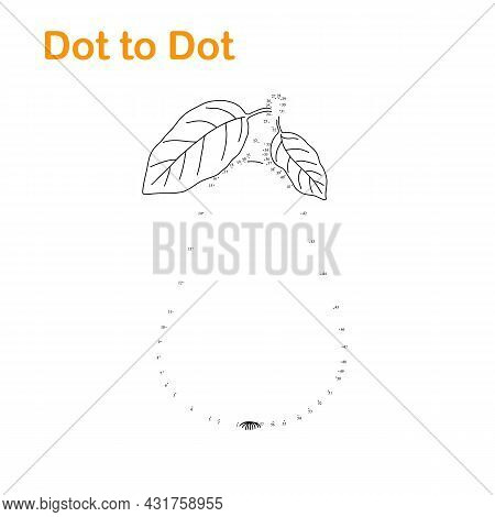 Pear Fruit Dot To Dot Fun Educational Game Or Leisure Activity, Vector Illustration