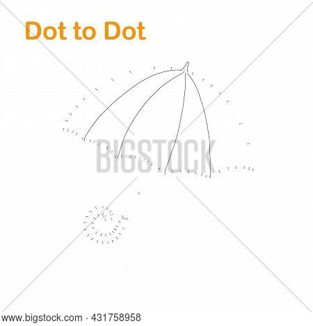 Umbrella Accessory Dot To Dot Fun Educational Game Or Leisure Activity, Vector Illustration