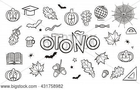 Translation From Spanish: Autumn. Doodle Elements For Seasonal Calendar. Hand-drawn Objects Isolated