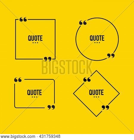 Quote Box Frame Set. Text Speech Bubble Design. Comment, Feedback, Quote Word. Description Box Frame